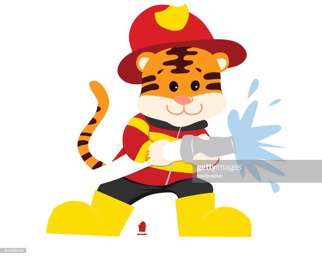 Cute Tiger in Firefighter Uniform Illustration