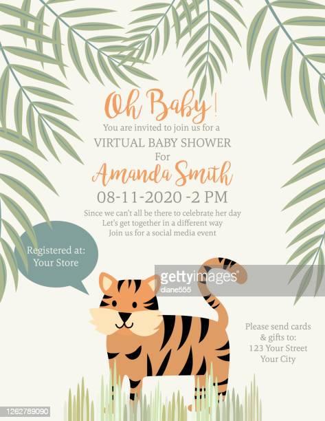 cute tiger jungle animals baby shower invitation - safari animals stock illustrations