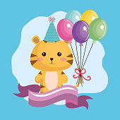 cute tiger with balloons air kawaii birthday card