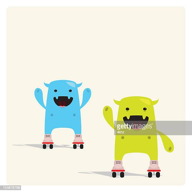 Cute Tiny Characters Rolling with Rollerskate