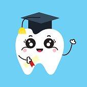 Cute tooth cartoon graduate in square academic cap and certificate.