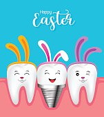 Cute tooth characters with rabbit ears decoration and implant.