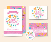 Cute Toy Theme Baby Shower Invitation Card Illustration Template