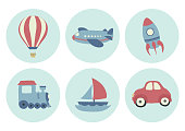 Cute toy transportation illustration.