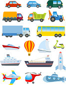 Cute transport set. Simple cartoon road, air, water transport items vector on white.