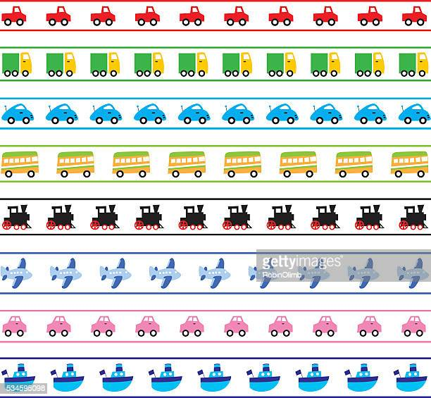 cute transportation borders - compact car stock illustrations, clip art, cartoons, & icons