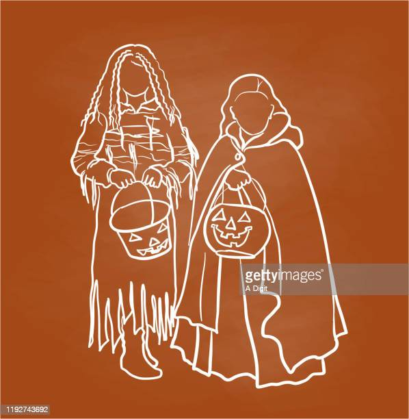 cute trick or treat sisters - hood clothing stock illustrations
