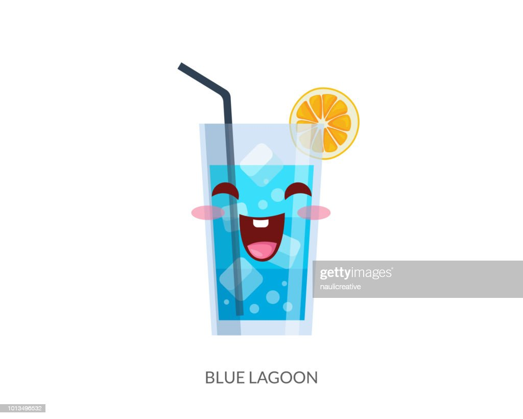 Cute Tropical Cocktail Drink Cartoon Character Illustration