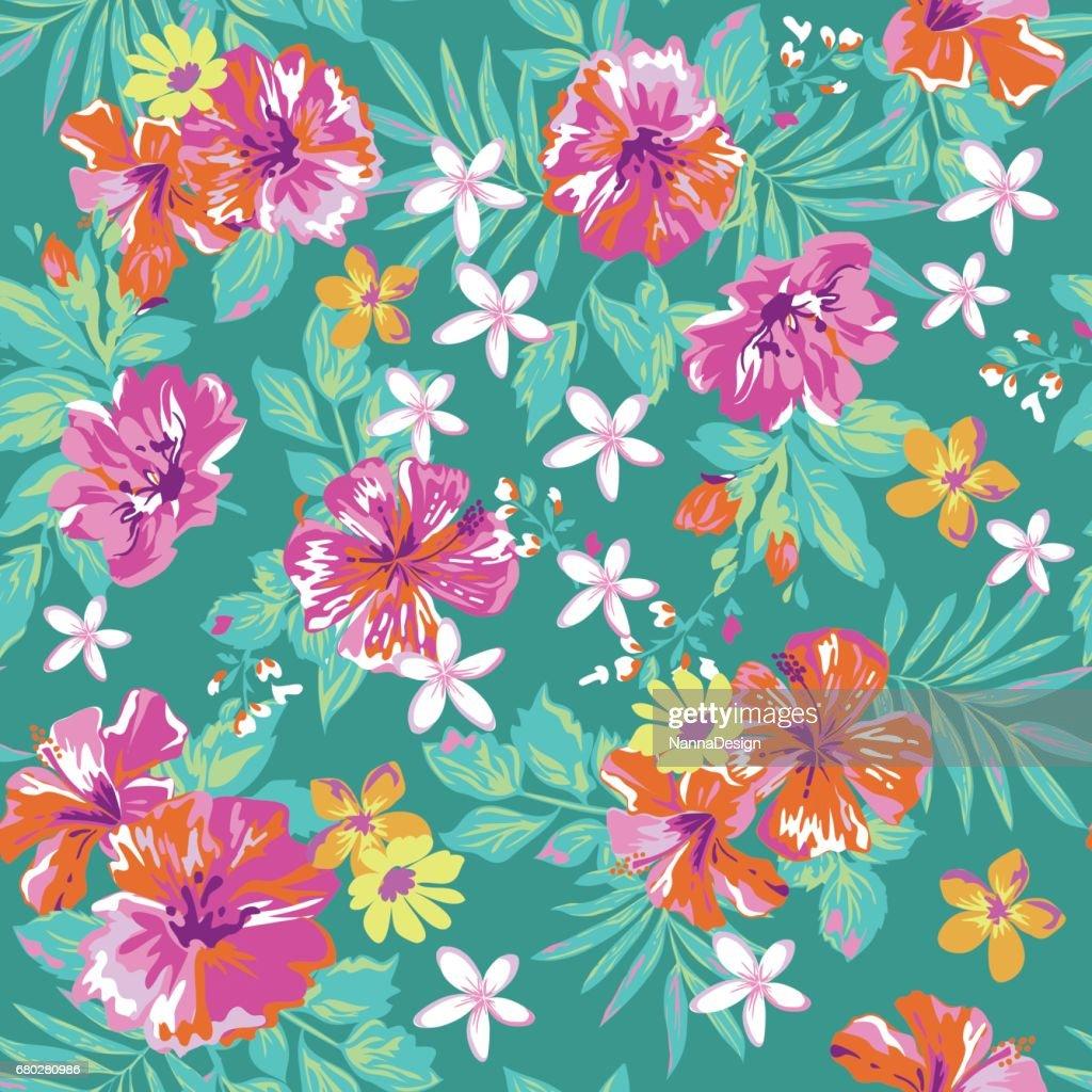 Cute tropical print - seamless background