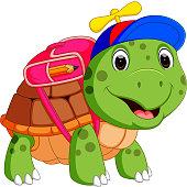 Cute turtle go to school