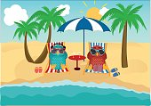 Cute two owls with sunglasses on vacation lying down on the beach by the sea and relaxing on a deck chair under an umbrella and listen to music and read books. Owlet. Postcard on holiday. Love and Relationships. Free space for your ad or text. Vector illu