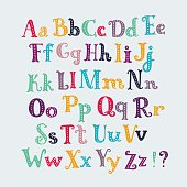 Cute typography letters set. Uppercase and lowercase characters,