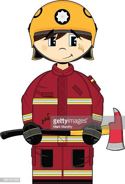 cute uk fireman with axe - hatchet stock illustrations, clip art, cartoons, & icons