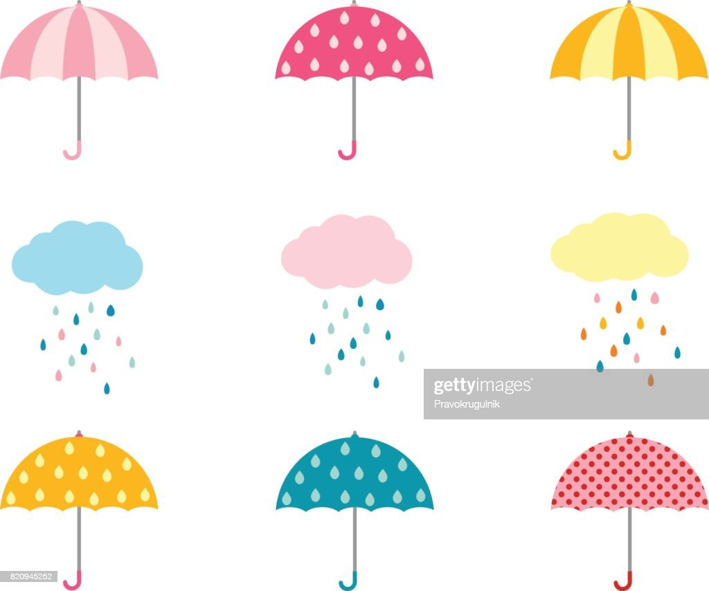 Cute umbrella collection and clouds with raindrops