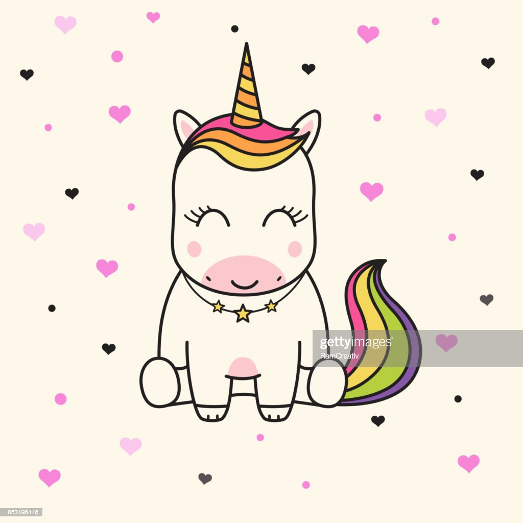 Cute unicorn face. Children's graphics for t-shirts.