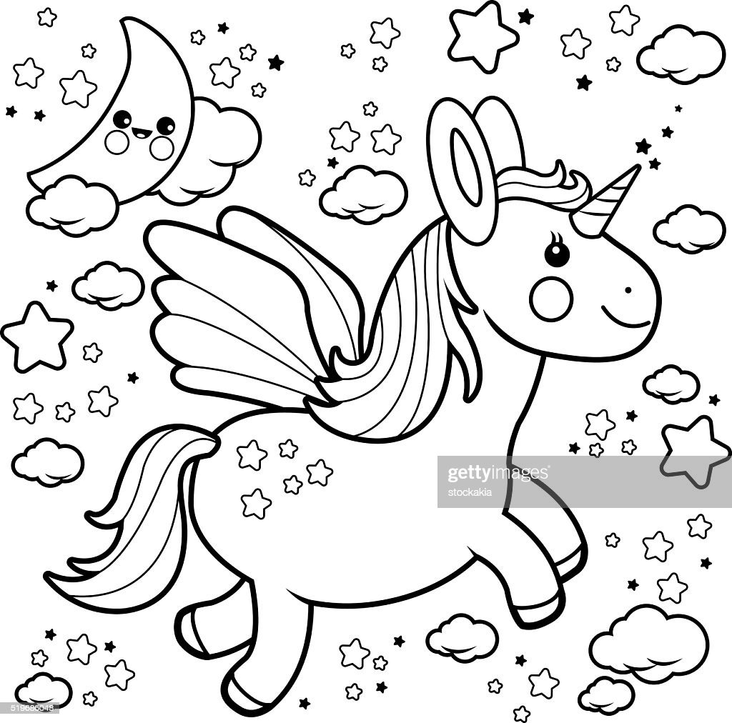 Cute Unicorn Flying In The Night Sky Coloring Book Page Vector Art