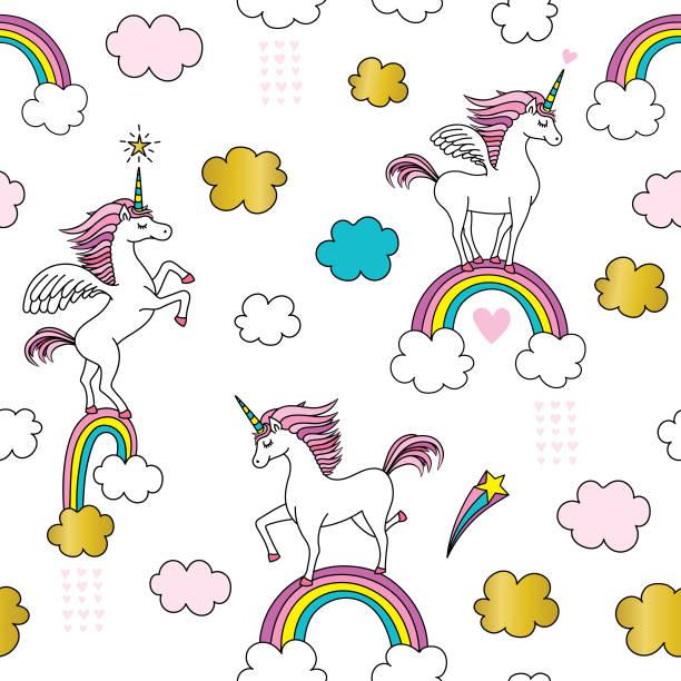 cute unicorn seamless pattern - rainbow stock illustrations