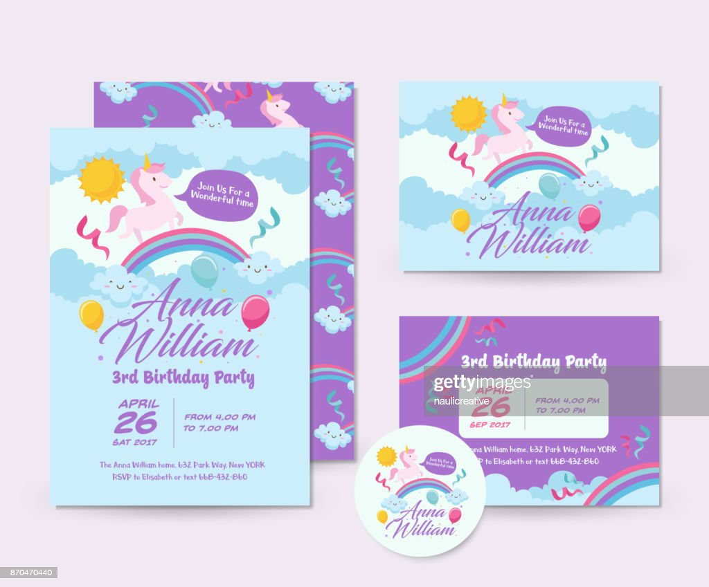 Cute Unicorn Theme Happy Birthday Invitation Card Set And Flyer Illustration Template