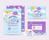 Cute Unicorn Theme Happy Birthday Invitation Card Set And Flyer Illustration Template