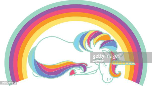 cute unicorn with rainbow on white background - unicorn stock illustrations, clip art, cartoons, & icons