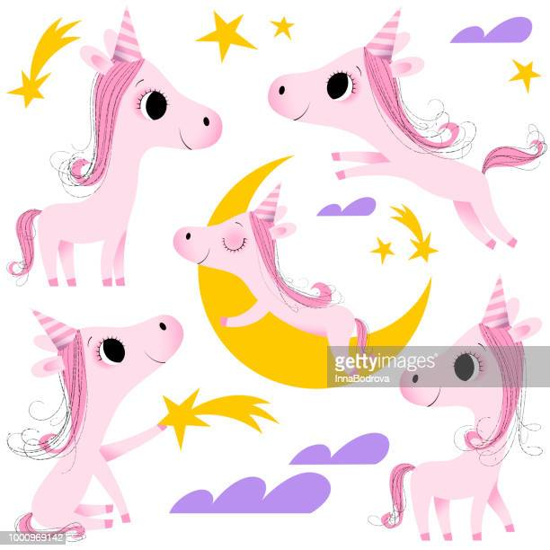 cute unicorns collection - pony stock illustrations, clip art, cartoons, & icons