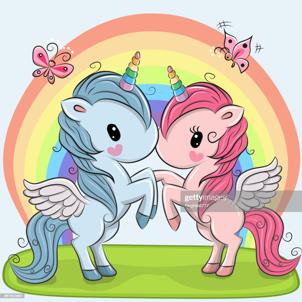 Cute Unicorns on a rainbow background