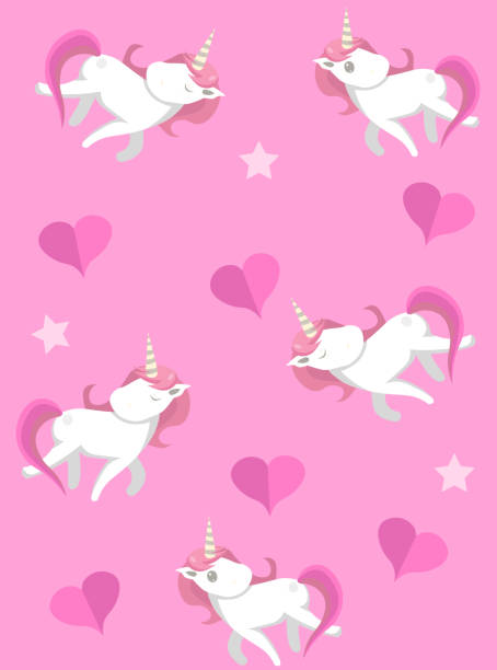 Cute unicorns seampless pattern with pink background. Vector unicorns with hearts for prints, textile, greeting cards etc.