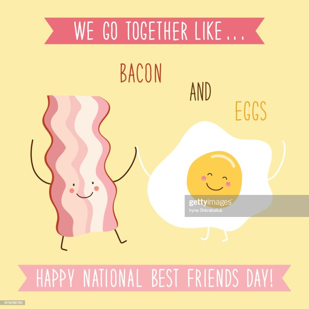 Cute unusual National Best Friends Day card as funny hand drawn cartoon characters and hand written text