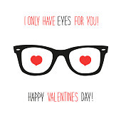 Cute unusual vintage Valentine's Day card with funny glasses and heart shaped eyes