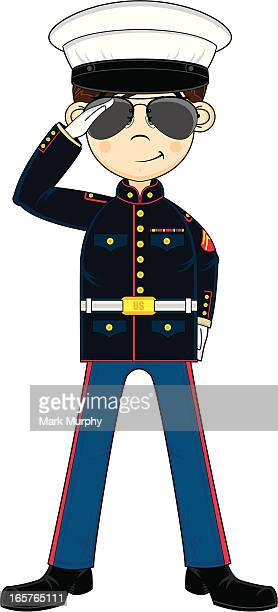 cute us marine corp nco saluting - marines military stock illustrations, clip art, cartoons, & icons