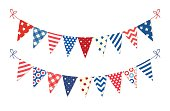 Cute USA festive bunting flags in traditional colors ideal as american holidays banner