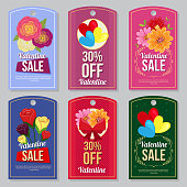 cute valentine collection tag set flat style buttercup flower