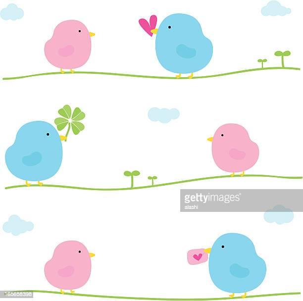 ilustraciones, imágenes clip art, dibujos animados e iconos de stock de linda de san valentín amor aves - i love you