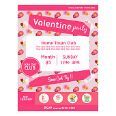 cute valentine party poster with buttercup pattern