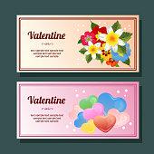 cute valentine season love and flower decoration horizontal banner