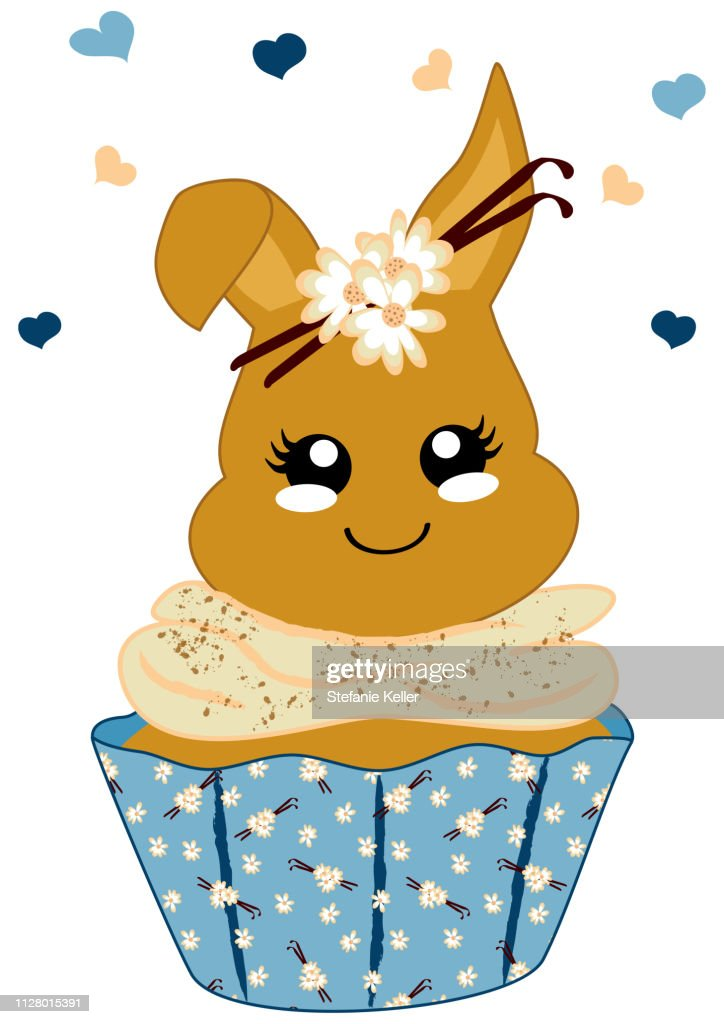 cute vanilla cupcake with bunny in kawaii style.