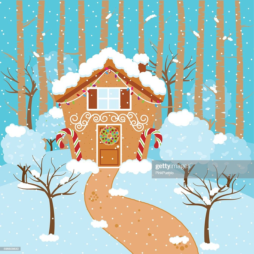 Cute Vector Background with Holiday Gingerbread House, Snow and Forest