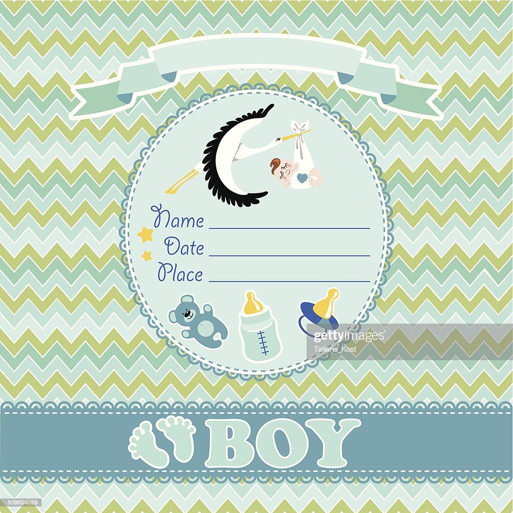 Cute vector card.Newborn boy baby shower : Vector Art