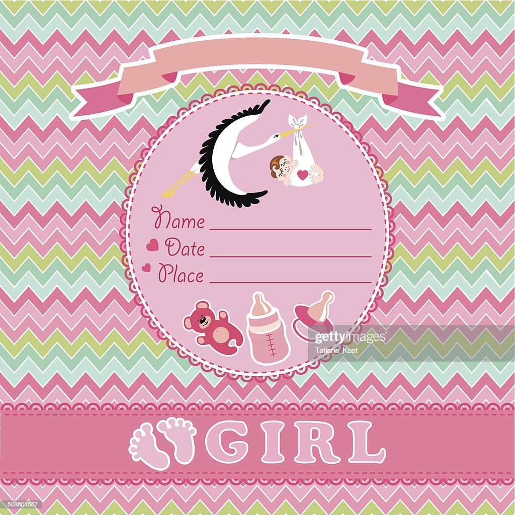 Cute vector card.Newborn girl baby shower : Vector Art