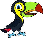Cute Vector cartoon rainbow-billed toucan