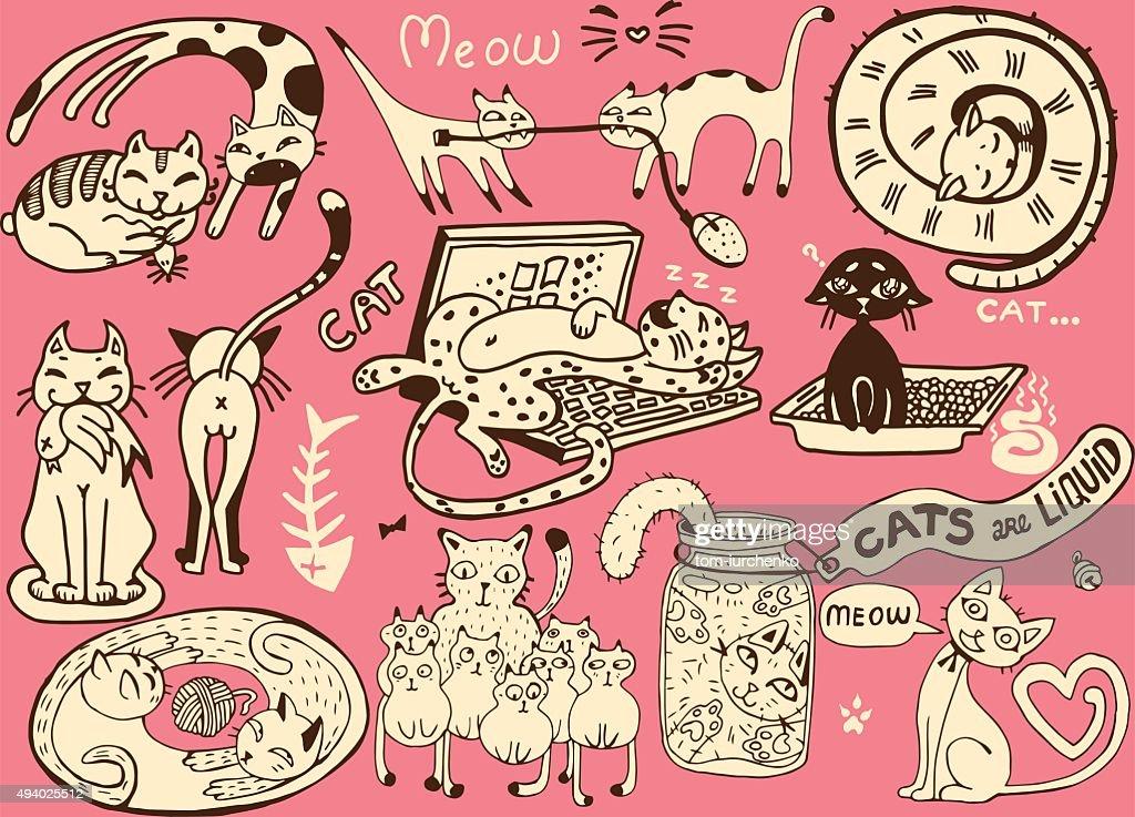 Cute vector Cats.Funny doodle wallpaper