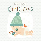 Cute vector Christmas card with little baby.