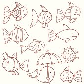 Cute vector fish collection icons