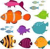 Cute vector fish set. Smiling swimming aquarium fishes  illustration