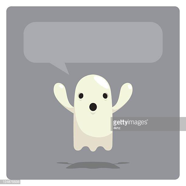 Cute Vector Ghost Character Screaming