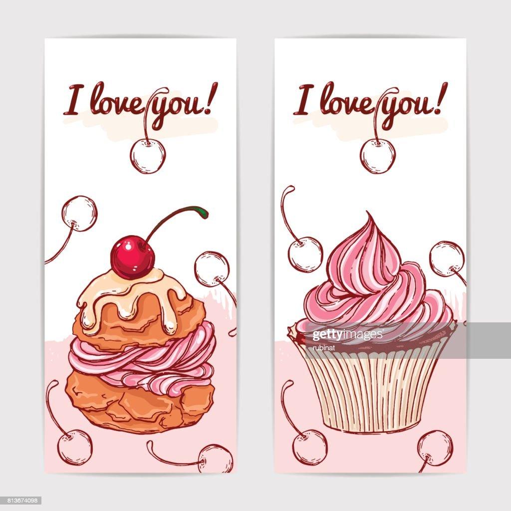 Niedliche Vektor Geschenkkarten Mit Hand Gezeichnet Kuchen Und