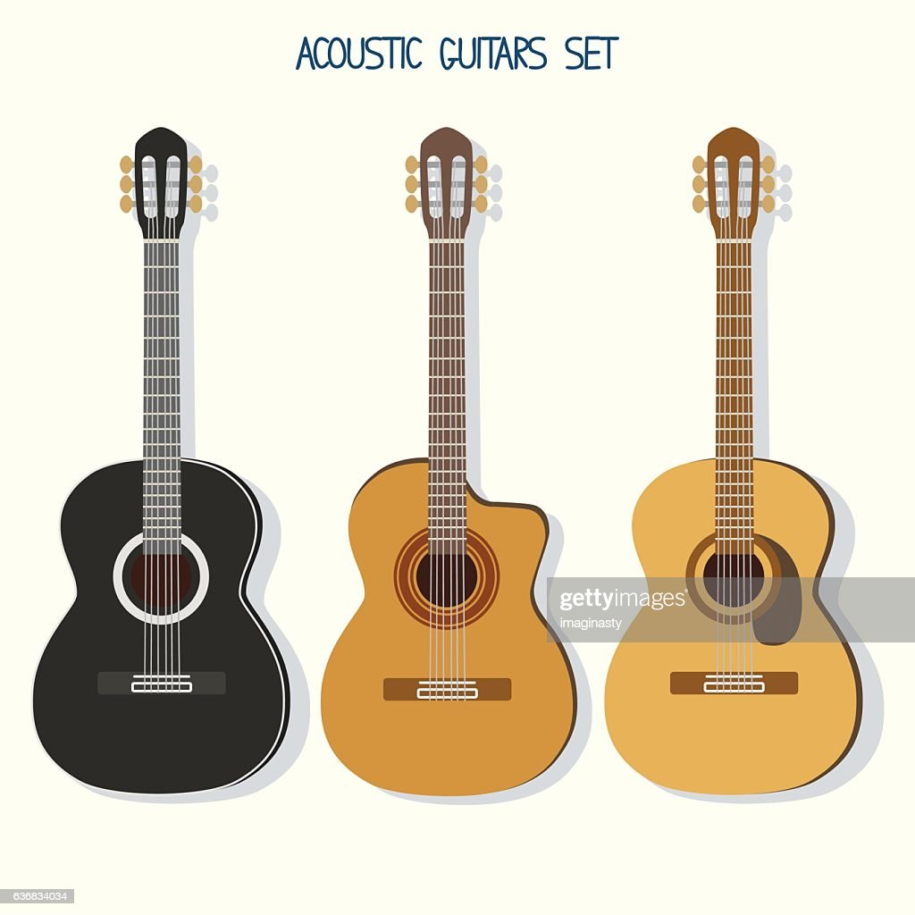 Cute vector guitars illustrations set. Acoustic (classic) guitars
