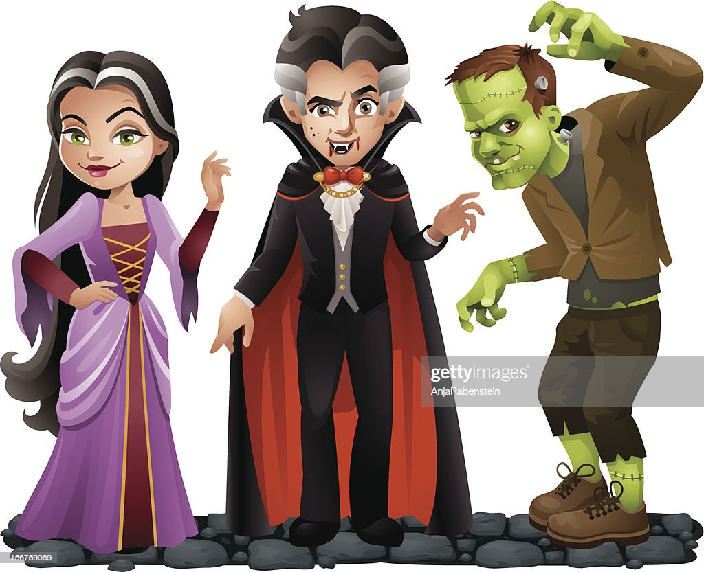 Cute Vector Halloween Characters: Vampire Lady, Dracula and Frankensteins Monster : stock illustration