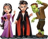 Cute Vector Halloween Characters: Vampire Lady, Dracula and Frankensteins Monster