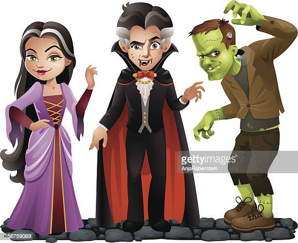 cute vector halloween characters: vampire lady, dracula and frankensteins monster - period costume stock illustrations